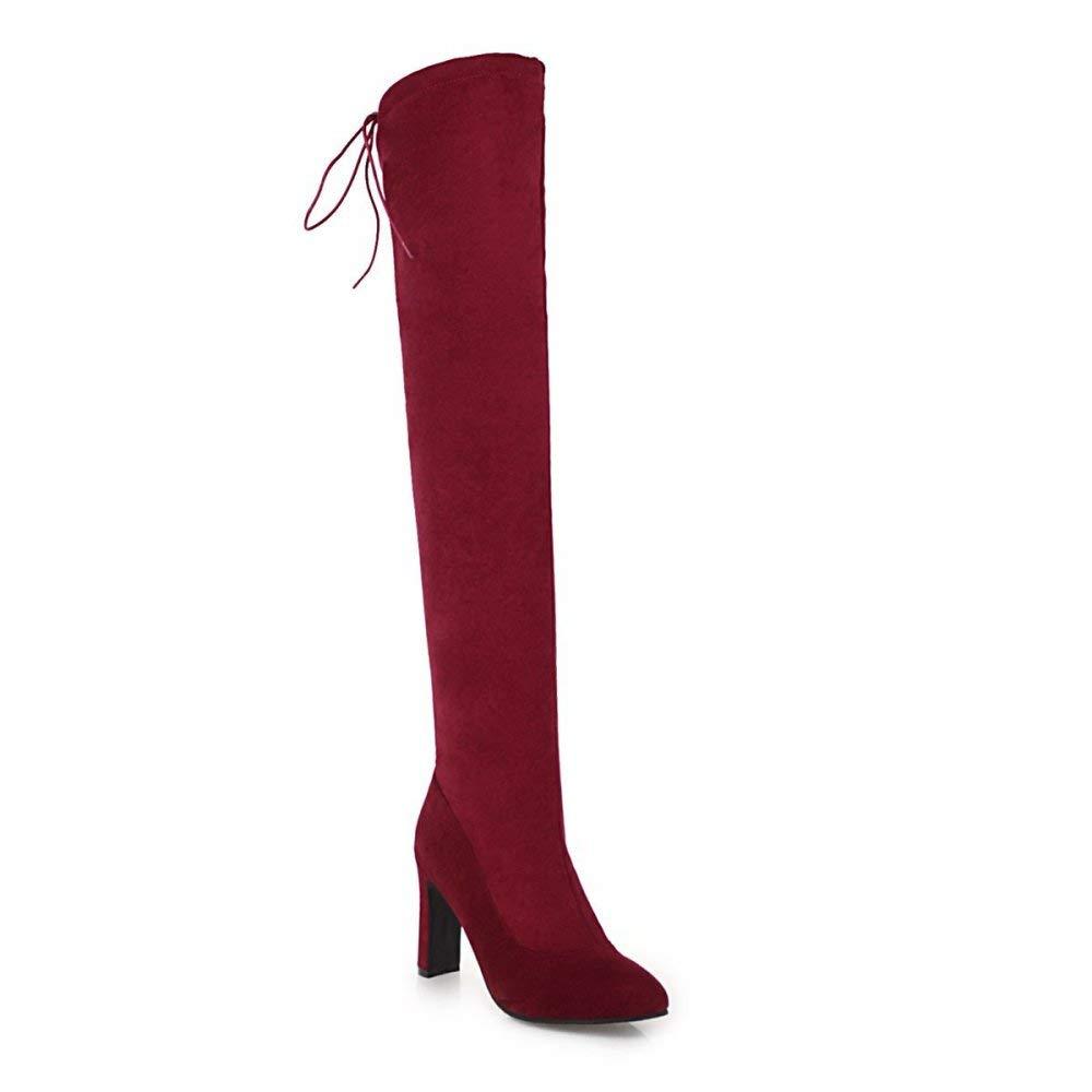 Frauen 2018 Zeigten Über Die Knie Stiefel 2018 Frauen Winter High-Heel Wildleder Stiefel Größe 32-48 38a40b