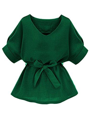 Floerns Women's Casual Belted Top Self Tie Waist Long Blouse Green - Black Green