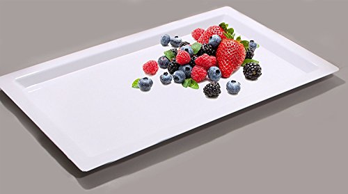(Party Bargains Rectangle Plastic Serving Tray & Durable White Disposable Trays | Excellent for Weddings, Buffets, Dinner, and Birthday Parties | 18 x 12 inches (4)