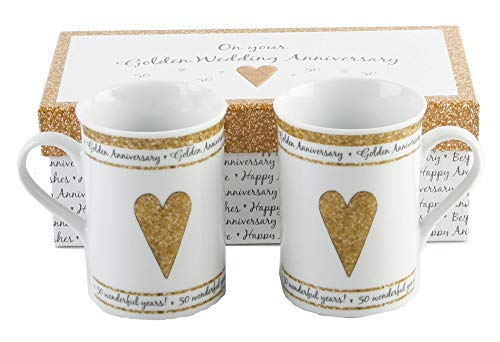 50th Golden Wedding Anniversary Gift Set Ceramic Mugs By Haysom Interiors