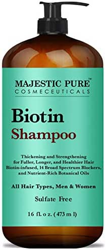 Majestic Pure Biotin Hair Shampoo - Hair Loss Shampoo for Thicker Hair - Infused with Vitamins, Nourishing and Volumizing, DHT Blockers, for Men & Women - 16 fl oz