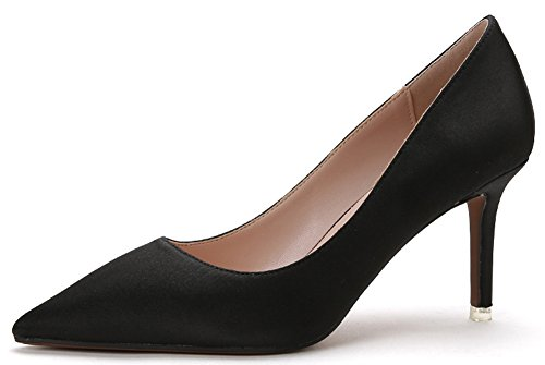 IDIFU Women's Dressy Pointed Toe Slip On Low Top Stiletto High Heels Office Pumps Shoes (5.5 B(M) US, Black Satin) - Stiletto Heel Satin Top