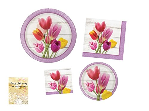 TwoTwelve Floral Party Supplies, Beautiful Blooms Design, Bundle of 4 Items: Dinner Plates, Dessert Plates, Lunch Napkins and Beverage Napkins, Great for Bridal Showers, Mother's Day, Birthdays