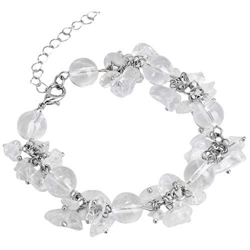 TUMBEELLUWA Tumbled Chips Stone Bracelet Irregular Shaped Healing Crystal Chakra Beads Polished Adjustable Handmade Jewelry for Women,Rock Quartz