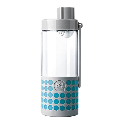Timolino Boii Messenger Glass Bottle with PH Filter & Silicone Sleeve with Alphabet Card, 16 oz, Grey with Blue Dots