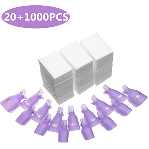 INFILILA Nail Polish Remover Clips Set 20+1000PCS Nail Clips Caps - 20PCS Nail Soak Off Clips For Finger And Toe,1000PCS Lintfree Nail Remover Wipes Wraps For UV Gel Acrylic Nail Polish Removal