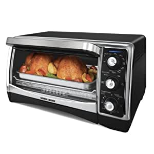 Black & Decker TO1640B 1500-Watt 6-Slice Countertop Convection Oven and Broiler with Nonstick Interior, Black/Silver
