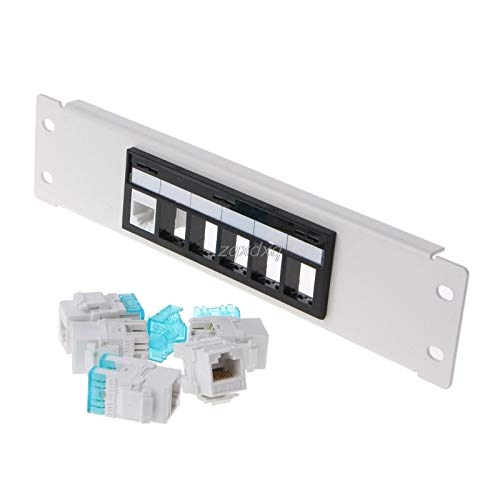 RJ45 CAT6 6 Ports Patch Panel Frame with RJ45 Keyston Module Jack Connector AUG_26