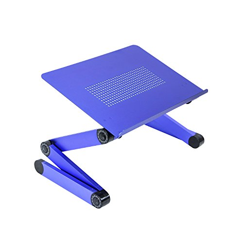 SOJITEKBlue Adjustable Folding Ventilated Laptop Notebook Tablets PC iPad Table up to 17