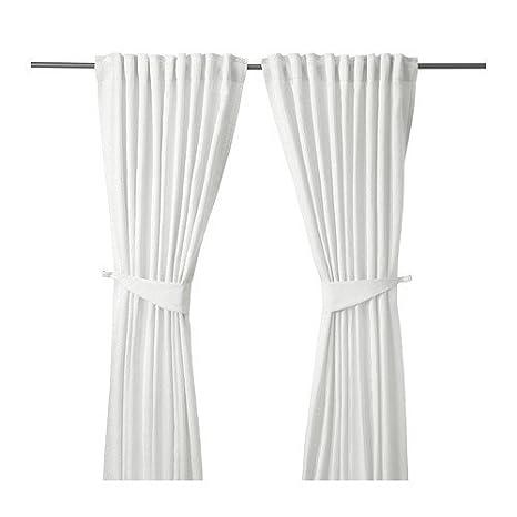 IKEA BLEKVIVA-Tende con fascette, 1 coppia, colore: bianco, 145 x ...