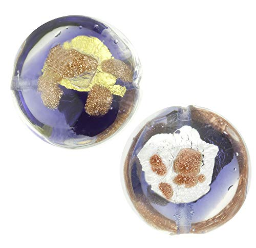 Murano Glass Bead Disc, 14mm Purple, Gold, Silver, Aventurina Splashes