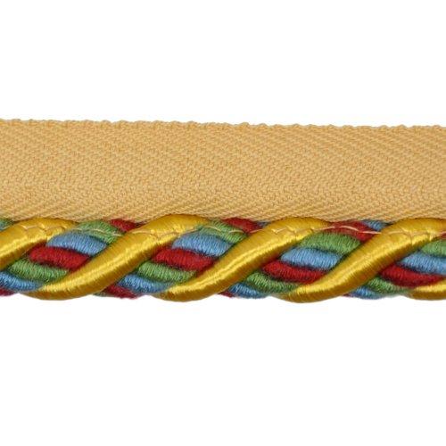 Cable de 1/2 con borde en rollo de 25 yardas, amarillo / rojo y verde