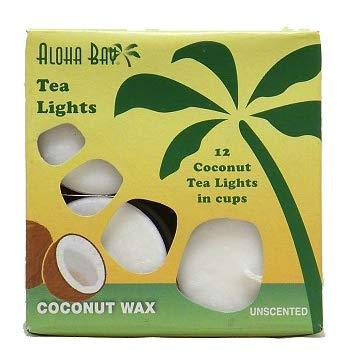 Aluminum Tea Table - Aloha Bay Palm Wax Tea Lights with Aluminum Holder Candles, 7 Ounce