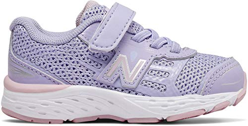 (New Balance Girls' 680v5 Hook and Loop Running Shoe, Clear Amethyst/Oxygen Pink, 7.5 W US Toddler )