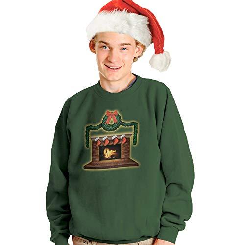 Morphsuits Digital Dudz Fireplace Ugly Christmas Sweatshirt, Green, Large
