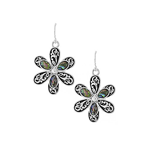 (Silver Filigree Daisy Drop Earrings with Abalone Inlay)