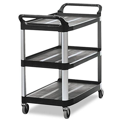 (Rubbermaid Commercial Products 3 Shelf Service and Utility Cart, FG409100BLA)