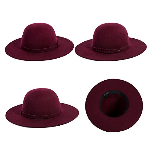 Siggi Woman 100% Wool Felt Top Hat Big Brim Winter Fedora Hats for Women Burgundy by SIGGI (Image #3)