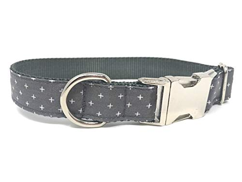 Big Pup Pet Fashion Grey Dog Collar with White Crosses, Religious, Christian, Trendy, Boy, Girl (L 1