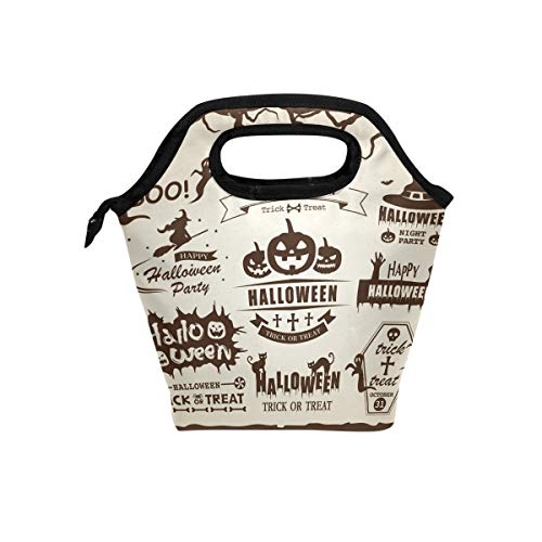(JSTEL Happy Halloween Vector Vintage Label Set Lunch Bag Tote Handbag lunchbox Food Container Gourmet Bento Coole Tote Cooler warm Pouch For Travel Picnic School Office)