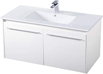 Amazon Com Elegant Decor 40 Inch Single Bathroom Floating Vanity In White Furniture Decor