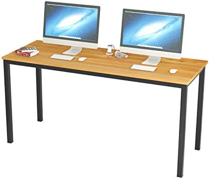 Soges 63 Inch Long Computer Desk Home Office Table Writing Desk Study Table Gaming Table Computer WorkstationsTeak GCP2AC3-160TB