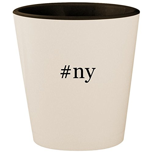 #ny - Hashtag White Outer & Black Inner Ceramic 1.5oz Shot Glass