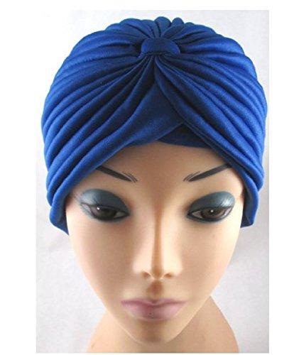 TOUCH Gadgets Full Head Turban Headwrap Indian Style Head Wrap Bandana Hat Hair Loss Chemo - Royal Blue