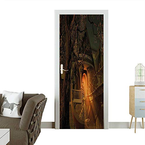 Door Sticker Wall Decals View with Elven Boat Floral Tree Fairytale Night Design Cinnamon Brown Sage Green Easy to Peel and StickW36 x H79 INCH (Sage Pizza Peel)