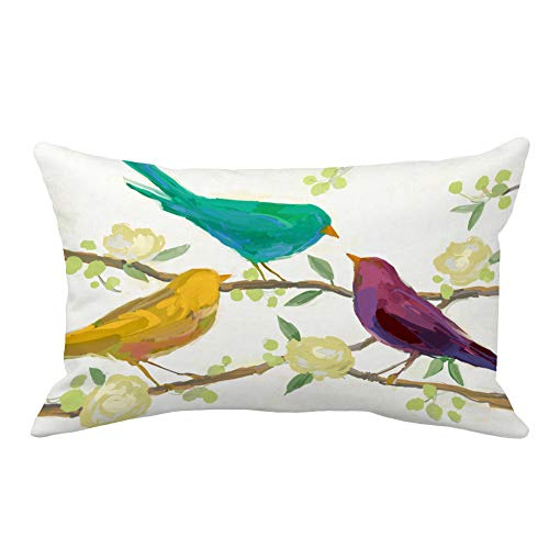 Toss Decorative Rectangle Pillow (Aremazing Throw Pillow Covers Watercolor Rectangle Abstract Colored Bird Pattern Home Decorative Pillowcase Super Soft Throw Pillow Case Cushion Cover 12 x 20 Inches (F))