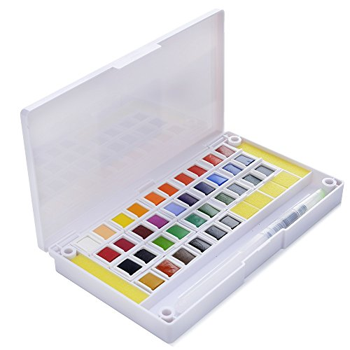 36 Watercolor Paint Set Portable Travel Water Color Paint Set Includes Water Brushes Sponges Mixing Palette (36) by Art-n-Fly