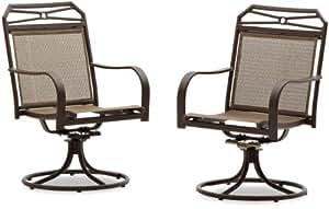 Strathwood Rawley Swivel Rocker Dining Arm Chair, Set of 2
