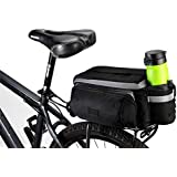 TRADERPLUS Bike Pannier Bag - Durable & Waterproof Nylon with Reflector Handbag | Shoulder Strap Rack Rear Trunk Tote Bag | Strong Velcro, Zipper Pockets & Bottle Case