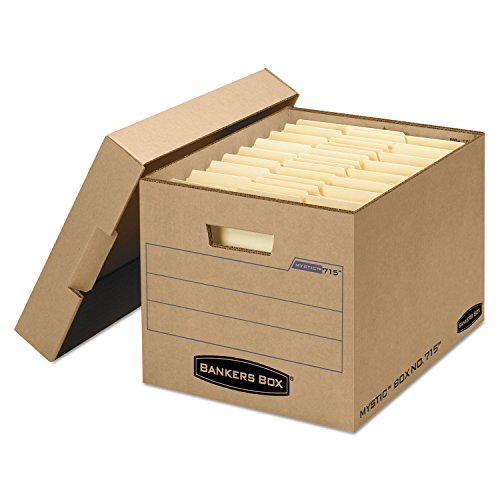 Bankers Box 7150001 Filing Storage Box with Locking Lid, Letter/Legal, Kraft, 25/Carton -  FEL7150001