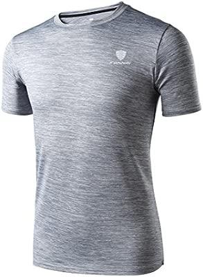 Camiseta de manga corta Hombre Polainas de entrenamiento para hombre Fitness Sports Gym Running Yoga Camisa atlética Top Blusa LMMVP (Gris, L)