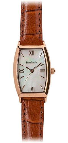 PIERRE LANNIER watch tonneau watch pink gold / Croco embossed tea P131D990 C44 Ladies