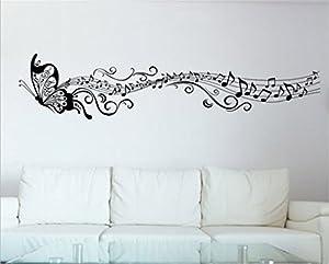 Lanue Vinyl Wall Decals Butterfly U0026 Music Notes Wall Art Stickers For Home  Decor Bedroom Dorm Living Room Art Murals