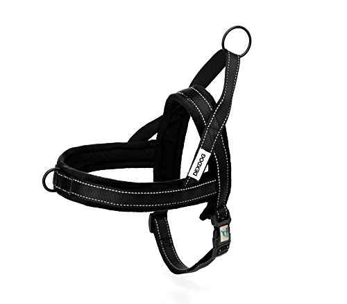 Fleece Harness (EZHarness Special Edition Fleece Dog Harness by DEXDOG | On/Off Quick | Easy Step In | Walk Vest (Medium, Black))