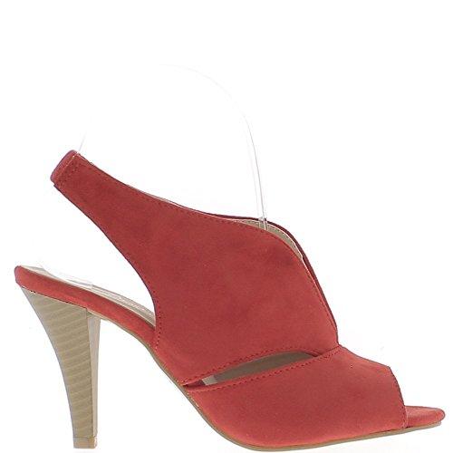 ChaussMoi Sandales Rouges à Talon Fin de 9cm Aspect Daim Larges Brides