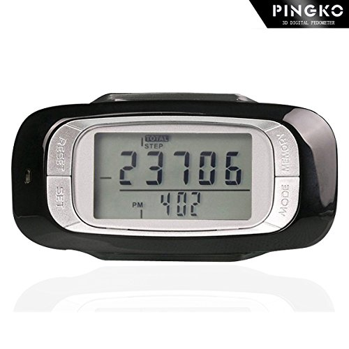 PINGKO 3D Pedometer with Clip and Strap, Outdoor Activity Fitness Tracker with 7 Days Memory - Black by PINGKO