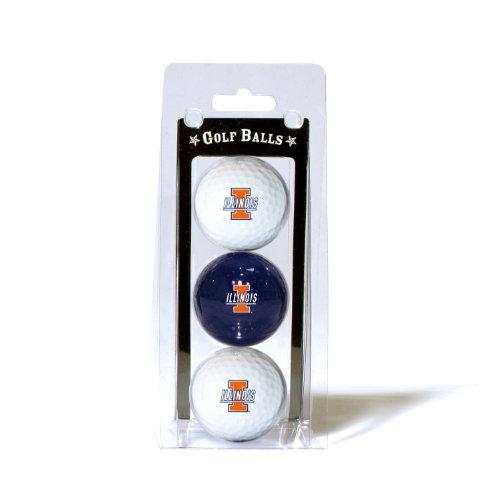 Team Golf NCAA Illinois Fighting Illini Regulation Size Golf Balls, 3 Pack, Full Color Durable Team Imprint