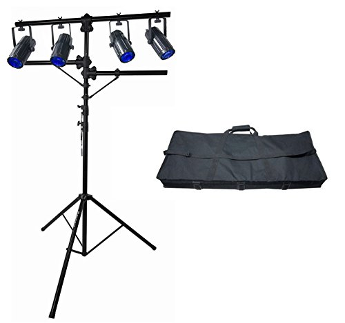 (Package: Chauvet DJ 4Play DMX-512 LED Light Beam Effect System, DMX Moonflower Bar + Case + Rockville RVLS1 Professional Heavy Duty Tripod Quad Lighting Tree Stand With Side Bars)