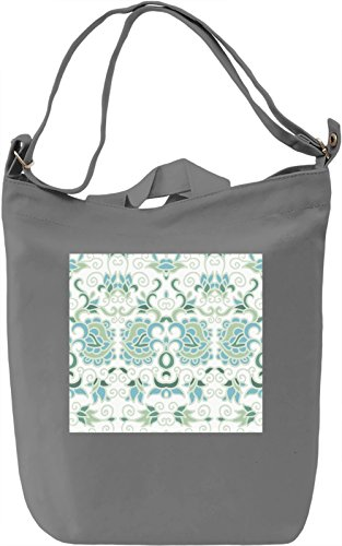 Green and Blue Flowers Pattern Borsa Giornaliera Canvas Canvas Day Bag| 100% Premium Cotton Canvas| DTG Printing|