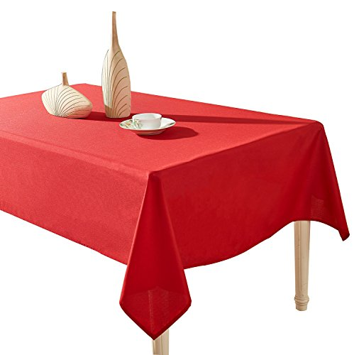 YEMYHOM Spill-Proof Fabric Rectangle Tablecloth for Dining Room, Wedding and Party (60 x 84, Wine Red)