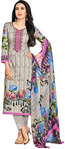 91b11b0ff7 M F Grey Satin Cotton Printed & Embroidered Unstitched Salwar Suit:  Amazon.in: Clothing & Accessories
