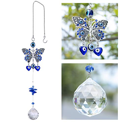 YU FENG Turkish Blue Evil Eye Butterfly Wall Hanging with Crystal Suncatcher Ornament for Home Decor Protection Good Luck Blessing Housewarming Birthday Gift