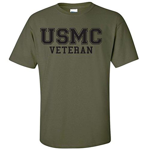 (ZeroGravitee USMC Veteran Black Logo Athletic Marines Short Sleeve T-Shirt - Military Green - Medium )