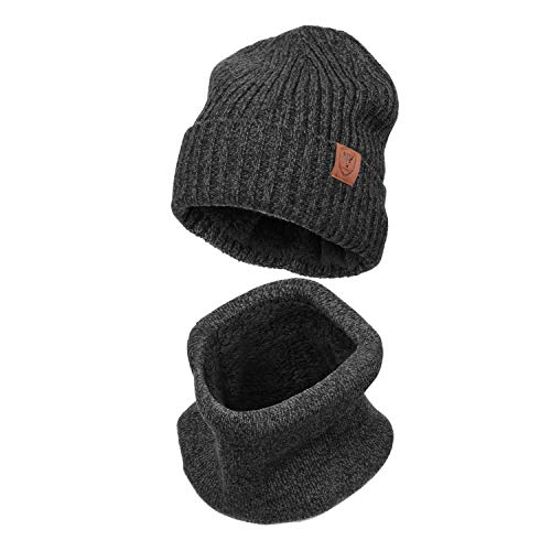 - Winter Knit Hat Warm Scarf Set Cold Proof Fleece for Men and Women (2 Pieces)