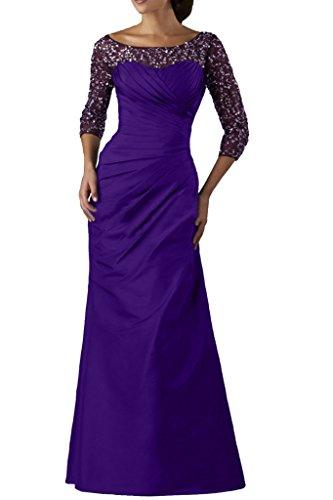 abito sera tulle maniche in da ballo a 3 lungo da donna elegante Vestito taffeta Ivydressing con da pailettes e 4 Violett 4wfq6pAq