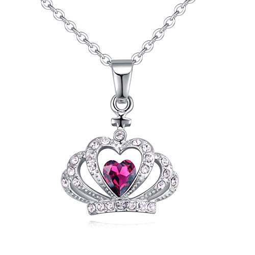 Crystal Diamond Accent Princess Crown Pendant Chain Necklace for Women Teenage Girls Kids Children, with A Gift Box, Made with Swarovski Crystal, Ideal Gift for Birthdays/Christmas / Wedding ()